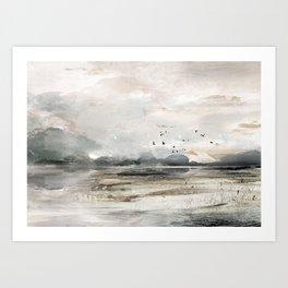 Seascape Sunset Painting Art Print