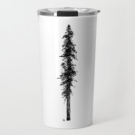 Love in the forest - a couple and their dog under a solitary, towering Douglas Fir tree Travel Mug
