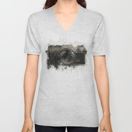retro camera illustration / painting /drawing  2 Unisex V-Neck