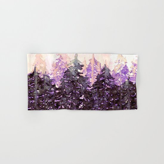 NORTHWEST VIBES Colorful Watercolor Painting Forest Trees Violet Green Modern Nature Art West Coast  Hand & Bath Towel