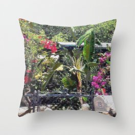 Through a garden gate... Throw Pillow