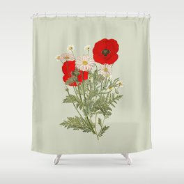A country garden flower bouquet -poppies and daisies Shower Curtain