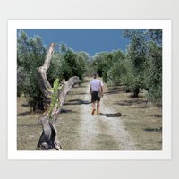 Loner arrives to an olive grove Art Print