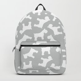 Silver Schnauzers - Simple Dog Silhouettes Pattern Backpack