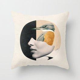 collage art / bird Throw Pillow