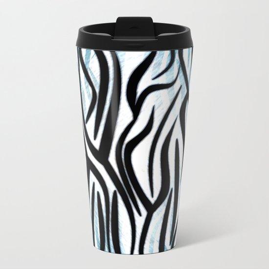 Abstract Zebra Print Metal Travel Mug