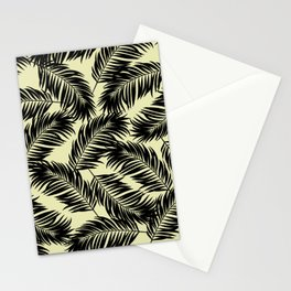 Palm Frond Tropical Décor Leaf Pattern Black on Yellow Stationery Cards