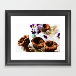 Chocolate muffins and violets Framed Art Print