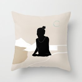 Woman waiting on a beige mountains landscape Throw Pillow