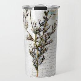 Chamomile Herb, Dragonfly Bumble Bee Botanical painting, Cottage style Travel Mug