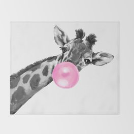 Bubble Gum Black and White Sneaky Giraffee Throw Blanket