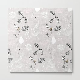 Winter Floral Grey Metal Print