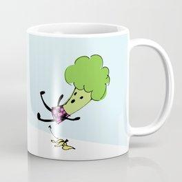 Lady Broccoli Slips on a Banana Coffee Mug