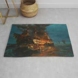 The Burning of a Turkish Frigate Rug