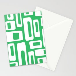 Retro Mid Century Modern Abstract Pattern 335 Green Stationery Cards