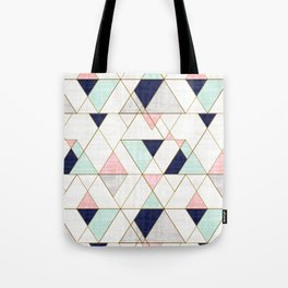 Mod Triangles - Navy Blush Mint Tote Bag
