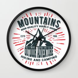 Mountains stamp print design Wall Clock