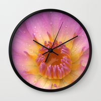 darwin Wall Clocks featuring Nymphaea 'Darwin' II by Draco Anima