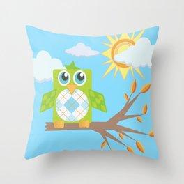 Daytime Owl Throw Pillow
