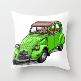 Green 2CV Throw Pillow