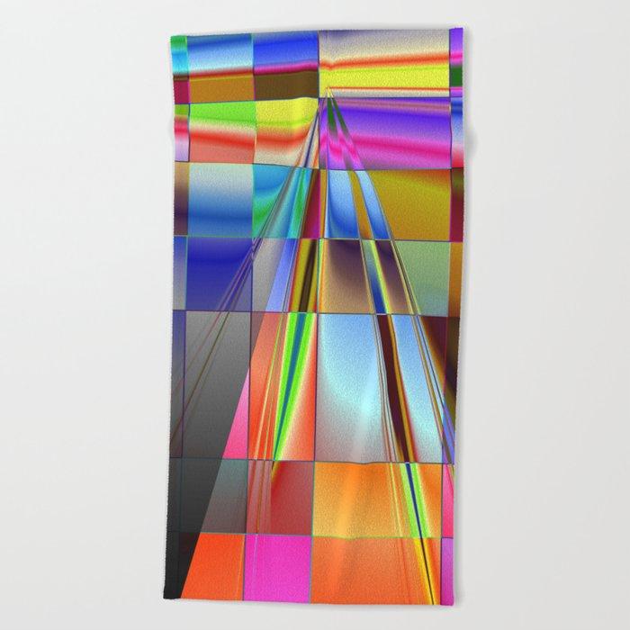 highway to rectangular city Beach Towel