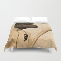 baseball Duvet Covers featuring Baseball Velociraptor by Luigi Tarini