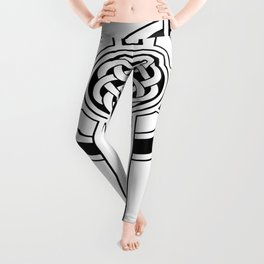 St Patrick's Day Celtic Cross Black and White Leggings