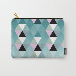 Geometric Prisme Pattern - Teal & Pink Carry-All Pouch