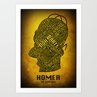 homer Art Prints featuring Homer by Matthew Cridland