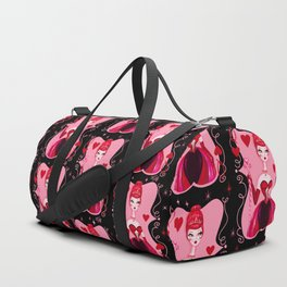 Queen of Hearts on Black Duffle Bag