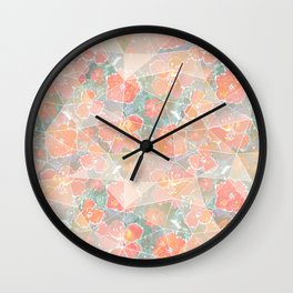 Orange, pink flowers on gray-green background. Wall Clock