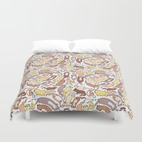 otters Duvet Covers featuring Adorable Otter Swirl by KiraKiraDoodles