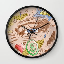 """""""Petty - Faces"""" by Jacob Livengood Wall Clock"""