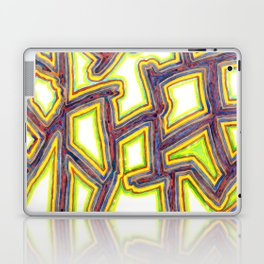 Outlined Fancy White Shapes Pattern Laptop & iPad Skin
