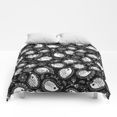 Hedgehog Paisley_White and Black Comforters