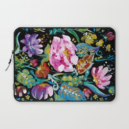 Colorful floral abstraction #1 acrylic painting flowers on a black background Laptop Sleeve