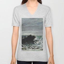 Gustave Courbet - The Wave Unisex V-Neck
