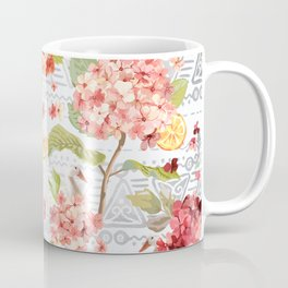 Pattern flowers with orange duck Coffee Mug