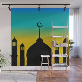 Mosque dome and minaret silhouette with moon during sunset - eid gifts Wall Mural