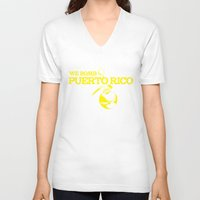 puerto rico V-neck T-shirts featuring We Bomb Puerto Rico by Grime Lab