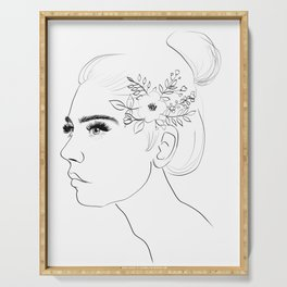Fashion Illustration Floral Hairdo Bridal Updo Hair Style Drawing Line Art Serving Tray