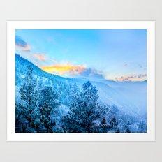 Snow Mountains Sunrise Art Print