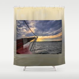 Sunset off the Bow Shower Curtain