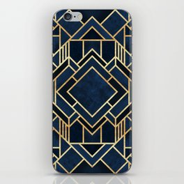 Art Deco Fancy Blue iPhone Skin