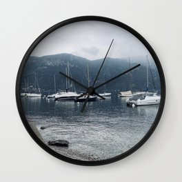 Boats On The Lake - Bellagio, Italy Wall Clock
