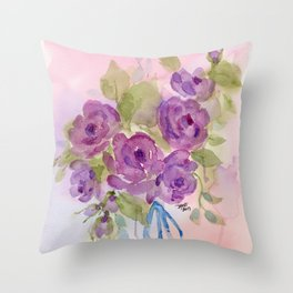Lavender Roses with blue ribbon Throw Pillow