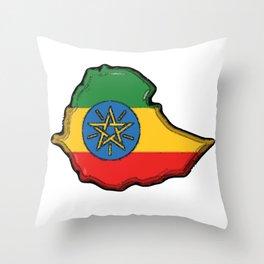 Ethiopia Map with Ethiopian Flag Throw Pillow