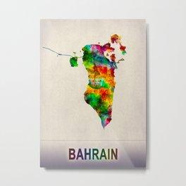 Bahrain Map in Watercolor Metal Print