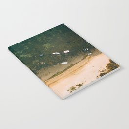 Aerial view of a Lagoon with boats Notebook