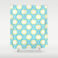 Polygonal pattern - Turquoise blue and Lemon Yellow Shower Curtain